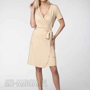 Sukienka sara sukienki lukome kopertowa, z-dekoltem, wiosenna