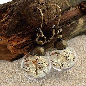 handmade kolczyki dmuchawiec - kolczyki z prawdziwymi nasionami