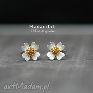 925 srebrne kolczyki wkręty kwiaty , kwiaty, lilie, kolczyki, biżuteria