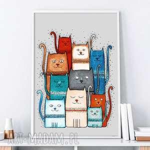 koty a3, kot, koty, kociara, sztuka, obrazek, plakat plakaty, wyjątkowy prezent