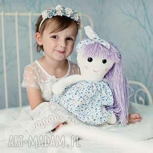 lalki lalka w fioletowych włosach, szmacianka, przytulanka