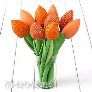Prezent TULIPANY, pomarańczowy bawełniany bukiet, tulipany, kwiaty, rocznica