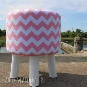 Pufa Różowy Zygzak Białe Nogi - 36 cm, puf, stołek, siedzisko, taboret, hocker