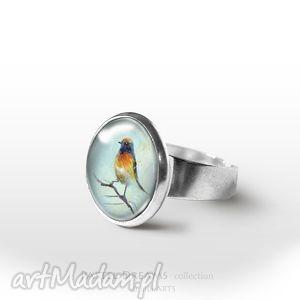 Pierścionek - Kolorowy ptaszek, pierścionek, pierścień, ptak, delikatny