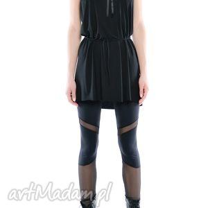 legginsy - futurystyczne tiulowo jerseyowe, czarne, elastyczne, ponadczasowe