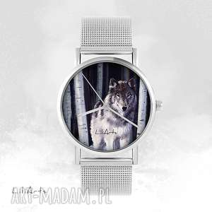 Prezent Zegarek, bransoletka - Szary wilk metalowy, zegarek, bransoletka, metalowa