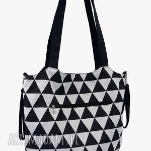 Torba Shopper z mocowanim do wózka Trójkąty biało czarne, shopperka, torba-do-wózka
