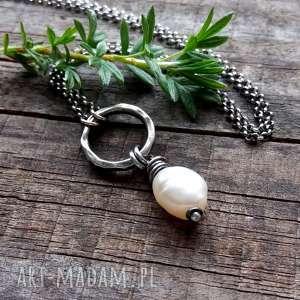 naszyjnik z perłą - srebro 925, romantyczny krótki, srebrny