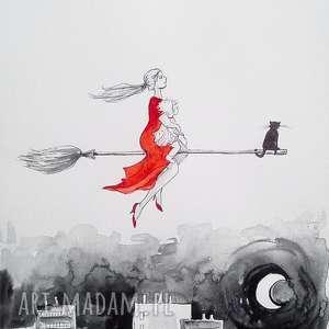 UROCZE WIEDŹMY :) akwarela artystki plastyka Adriany Laube, akwarela, dziecko