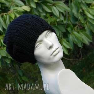 100 wool unisex klasyk zimowa wełniana czapka czarna, ciepła, dziergana