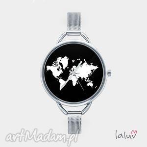 Zegarek z grafiką świat zegarki laluv bransoleta, mapa, ziemia