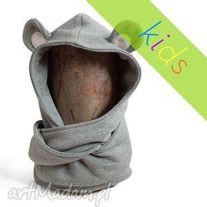 hand made ubranka komin z kapturem dla dziecka - myszka