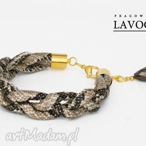 szary warkocz z motywem węża - bransoletka, złoto