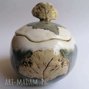 pojemniczek drzewa w szarości, ceramika rękodzieło, artystyczna