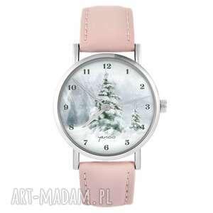 yenoo zegarek - zimowy, choinka pudrowy róż, skórzany, zegarek, skórzany