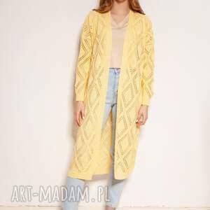 lanti urban fashion ażurowy płaszcz - swe145 żółty, płaszcz