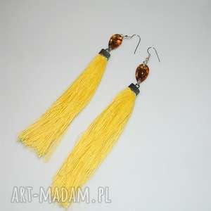 żółte chwosty z oczkiem, lniane, lniane-kolczyki, unikatowa-biżuteria
