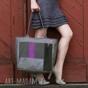 incat city - shopper szarość i fiolet, elegancka, wygodna, shopper, oryginalna