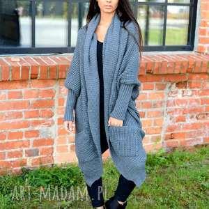Sweter długi gruby uniwersalny swetry ekoszale długi, sweter