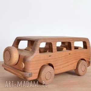 ręcznie robione zabawki auto drewniane volkswagen t5 ogórek prezent dla dziecka pokój
