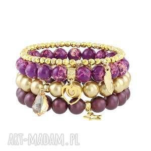 zestaw bransolet z naturalnych kamieni - perła, hematyt jaspis, serce