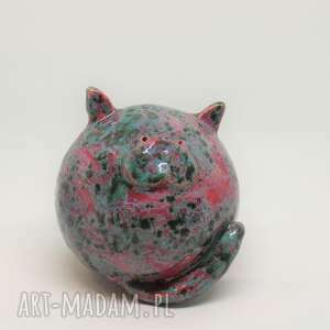 dekoracje mały kot ceramiczny kula obw 30 cm piękny prezent ozdoba wnętrza
