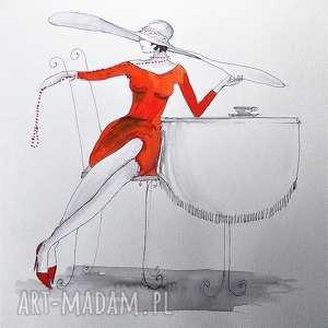 Praca akwarelą i piórkiem CZAS NA KAWĘ artystki plastyka Adriany Laube, rysunek