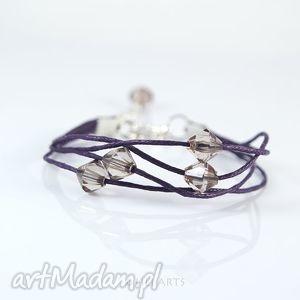 bransoletka - violet sznureczki, fioletowa, bransoletka, koraliki