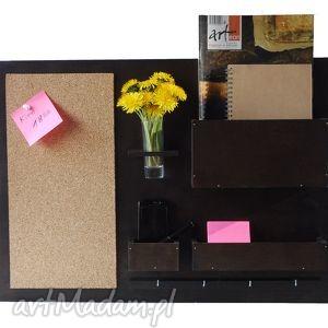 Organizer - 63x45 cm, drewniany, wenge, organizer, biurko, wiszący, drewniany