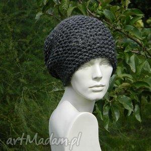 handmade czapki tweed stalowy - na prawo * czapka