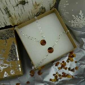 komplet biżuterii z bursztynem na gwiazdkę, biżuterii, biżuteria