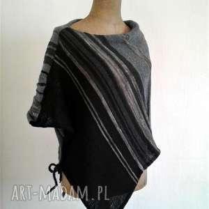 Asymetryczne ponczo poncho the wool art ponczo, szal, poncho,