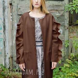 Brązowy wełniany płaszcz z falbanami płaszcze non tess wełniany,