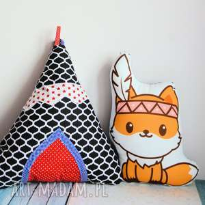 zestaw - poduszki zabawki lis i wigwam, poduszka, zabawka, zestaw, indianie