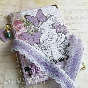 notes / wiosenna dziewczyna, motyle, wiosna, lawenda, róże, pamiętnik