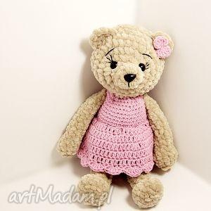 ręcznie zrobione maskotki pluszowa panna misia w różowej sukience - 23 cm
