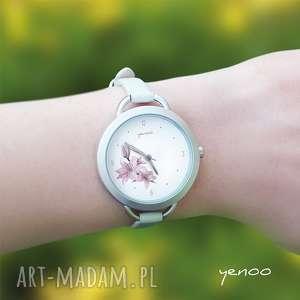 Prezent Zegarek, bransoletka - Różowa lilia, skórzana,