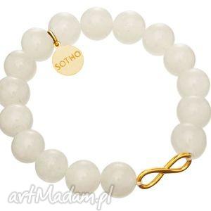 handmade biała bransoletka nefryt biały złota nieskończoność infinity symbol