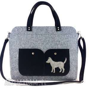 gray laptop bag with dog, torebka, filc, technika-szycie, piesek, torebki