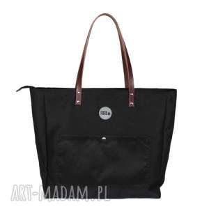 na ramię bardzo duża torba z kieszonkami czarna, torba, pojemna