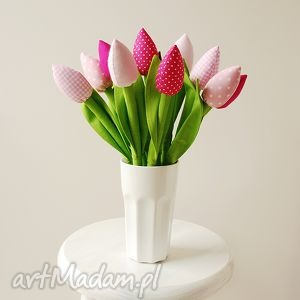 Bukiet bawełnianych tulipanów, bukiet, tulipany, kwiatki, kwiaty, bawełniane, szyte