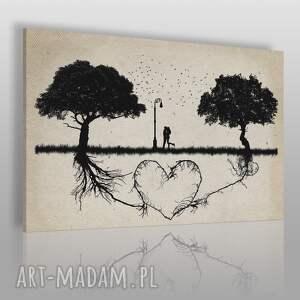 obraz na płótnie - miłość serce drzewa 120x80 cm 67301, drzewa, miłość, para