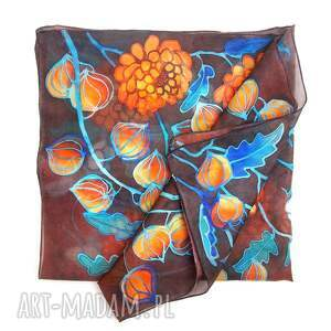 chustki i apaszki apaszka jedwabna jesień, nowoczesny folk apaszka