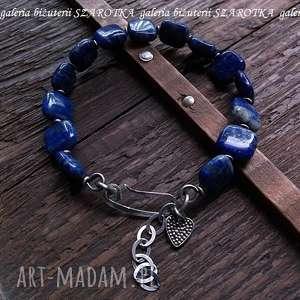 nocne niebo bransoletka z lapisu lazuli i srebra, lapis, lazuli, srebro, oksydowane