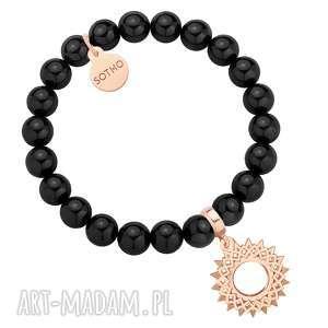 hand made bransoletki czarna bransoletka z pereł swarovski® crystal z rozetą z różowego złota