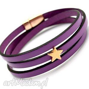 bransoletka skóra MAGNETOOS TRIPLE LILAQ rose STAR, bransoletka, skóra, magnetyczne