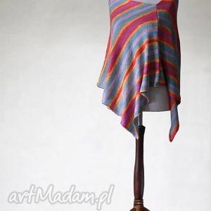 kolorowe poncho z mikrofibry , knitwearfactory, poncho, sweter, handmade, ponczo