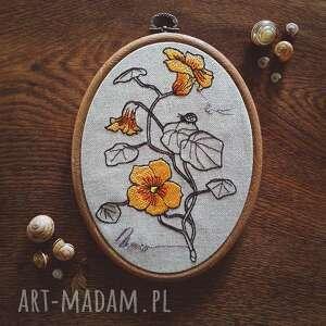 zapętlona nitka obrazek haftowany botanical, tamborek, kwiaty