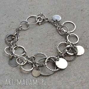 Bransoletka srebrne kółeczka, srebro, boho