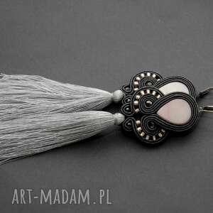klipsy sutasz z masą perłową i chwostami, sznurek, eleganckie, wiszące, wieczorowe